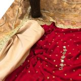 Chiffon Handwork Dobble Stone 3 Piece Suit Red
